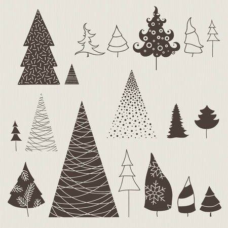 Collection of stylized Christmas trees. Decorative X-tree design for invitations, labels, greeting cards. Illustration