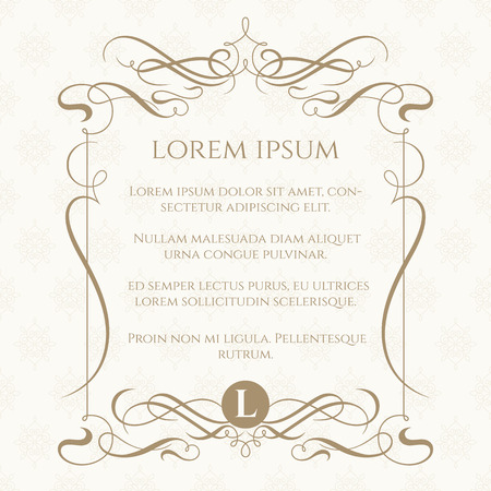 Monogram, caligraphic frame and classic seamless pattern. Template for greeting cards, invitations, menus, labels. Graphic design page. Wedding invitation. Vettoriali