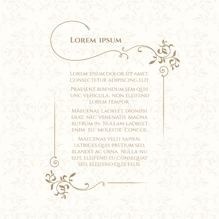 Border and classic seamless pattern. Template for greeting cards, invitations, menus, labels. Graphic design page. Reklamní fotografie - 49870741