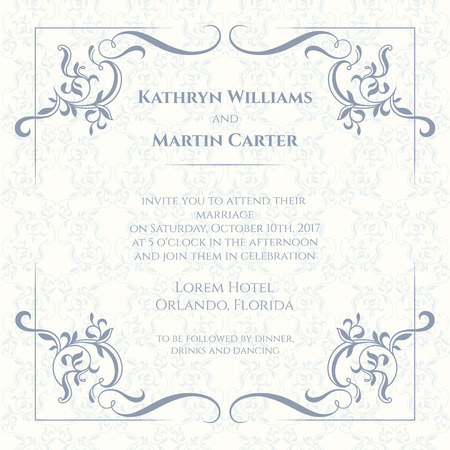 Decorative borders and seamless classic pattern. Template for greeting cards, invitations, menus, labels. Graphic design page. Wedding invitation.