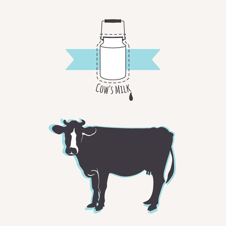 cow milk: Cow silhouette. Milk cans with blue ribbon.