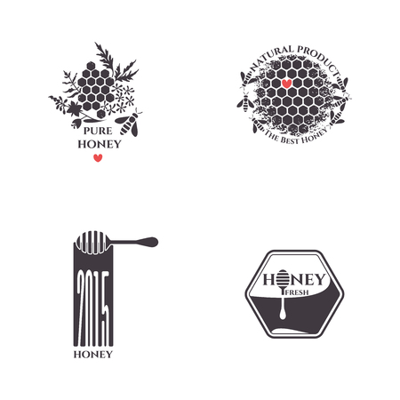 bee flower: Honey bee vector set. Badges, stickers, labels for bee products.