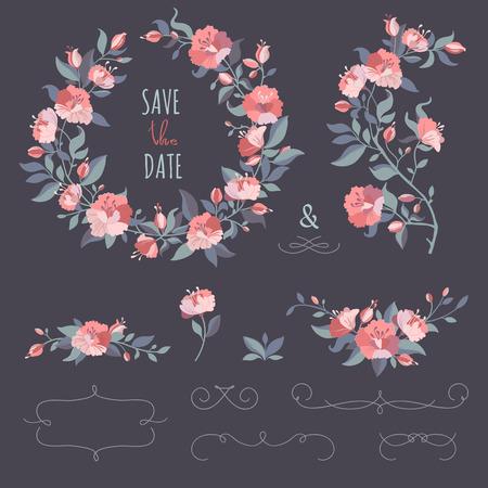 Het verzamelen van bloemenkransen, takjes, grens. Set van hand-tekening kalligrafische grenzen. Decoratieve elementen voor ontwerp uitnodiging, kaarten. Floral vector graphic. Stock Illustratie