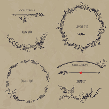 Conjunto floral romántica en el fondo de la textura. Colección de coronas de flores, las fronteras, las flechas y el arco. Elementos decorativos para el diseño de la invitación, tarjetas, etiquetas. Ilustración de vector