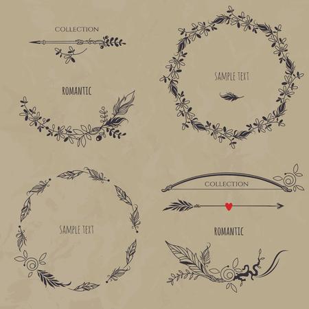 Romantische bloemen set op textuur achtergrond. Verzameling kransen, grenzen, pijlen en boog. Decoratieve elementen voor ontwerpuitnodiging, kaarten, labels. Vector Illustratie