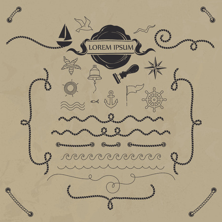 Vector set nautical elements. Hand drawn objects and rope borders.