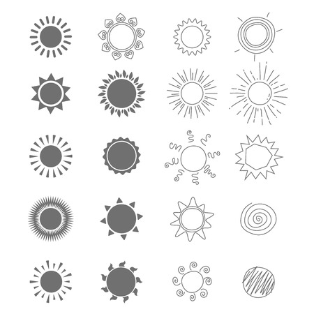 słońce: Sun ikony. Kolekcja różnych stylizowanych słońc. Ilustracja