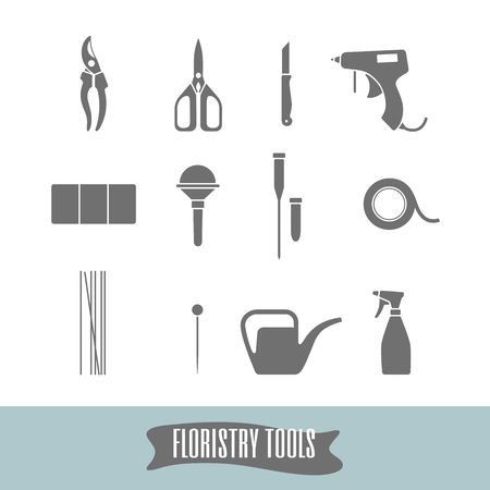 decorator: Set of tools for florists decorator. Basic set to work with flowers. Tools to create bouquets, wreaths, boutonnieres, wedding decoration, gifts.