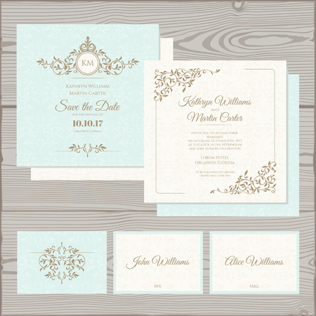 Wedding invitation, save the date card, place card.