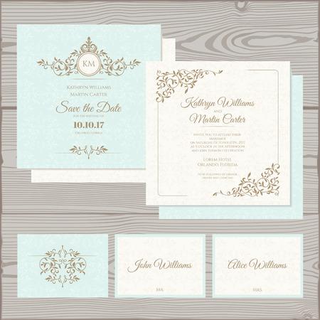 huwelijk: uitnodiging van het huwelijk, sparen de datum kaart, plaats kaart.