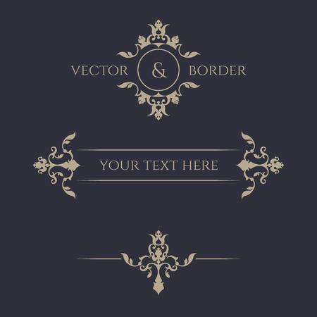 Decorative vector frame, monogram, border. Illustration