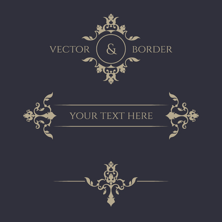 Decorative vector frame, monogram, border. Vettoriali