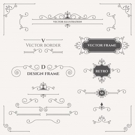 bordes decorativos: Conjunto de decoración monogramas, bordes, marcos, esquinas. Vectores