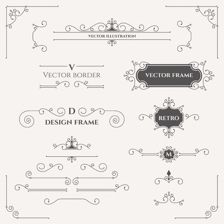 filigree border: Set of decorative monograms, borders, frames, corners.
