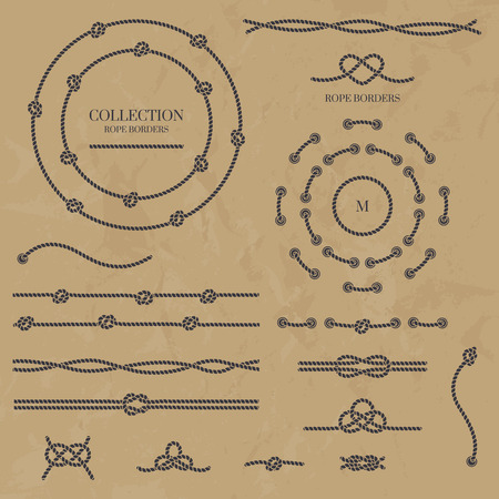 rope border: set nautical elements of the rope.