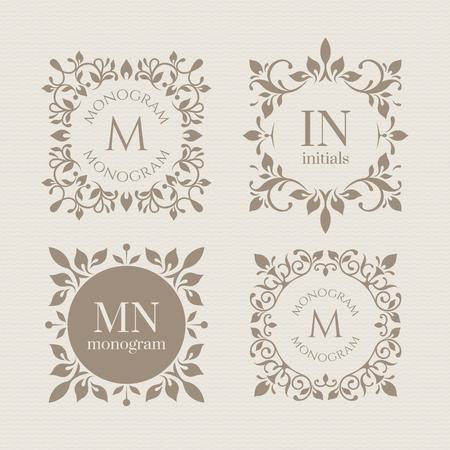cuadrados: monogramas florales para tarjetas, invitaciones, menús, etiquetas.