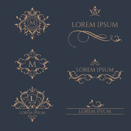Kwiatowe monogramy i obramowania, ramki dla karty, zaproszenia, menu, etykiet. Ilustracje wektorowe