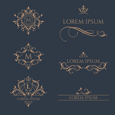 Floral monograms and borders, frames for cards, invitations, menus, labels.