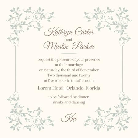 Plantilla floral del marco para las tarjetas de felicitación, invitaciones, menús.