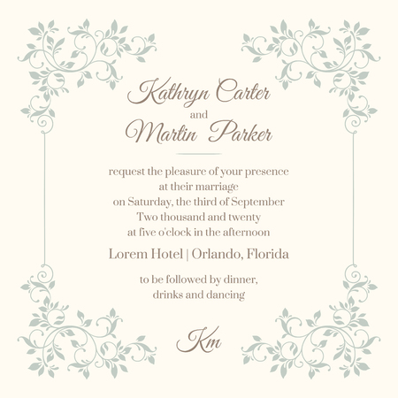 Floral frame Template for greeting cards, invitations, menus.