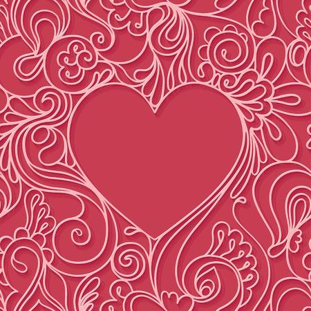 Heart frame on a red background. Illustration