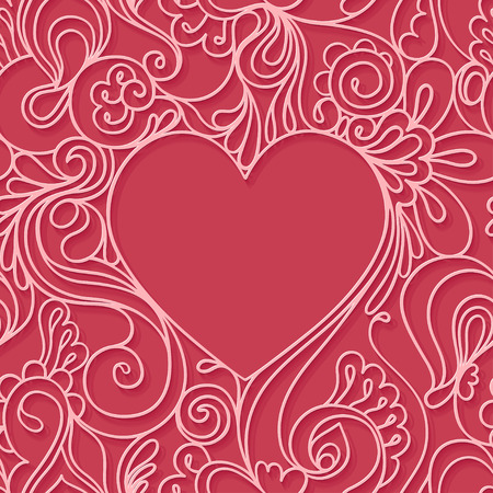 cut: Heart frame on a red background. Illustration