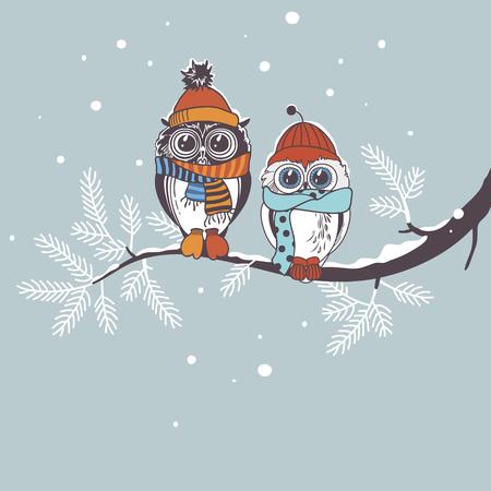 枝のフクロウとテンプレート カード。冬の休日のグリーティング カード。フクロウのカップルを描画します。