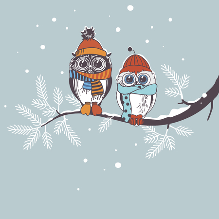 love couples: Template card with owls on branch. Greeting card for winter holidays. Drawing owl couple.