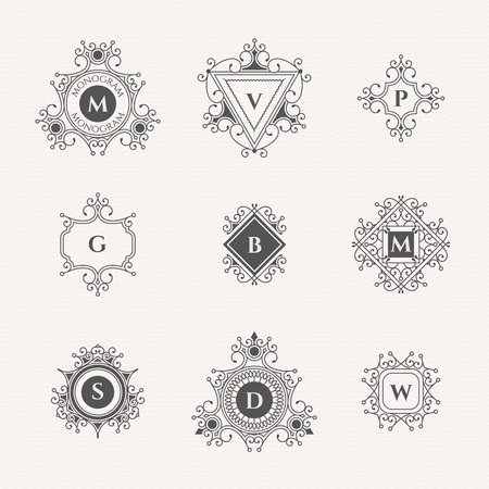 Set of decorative monograms. Design collection for labels, invitations, logos, banners, posters, badges, signage, stickers, cards. Graphic design page.