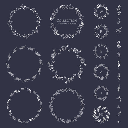 Collection of floral wreaths frames and monograms. Decorative elements for design invitation, cards, labels. Stylized twigs, feathers.