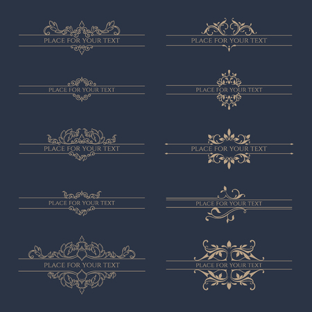 Set of decorative borders for labels, invitations, banners, posters, badges, cards. Design Elements.