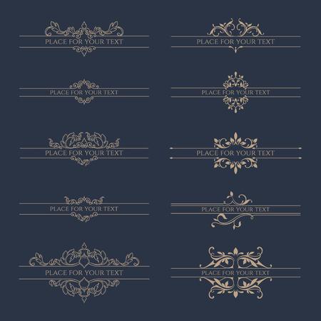 Ensemble de bordures décoratives pour des étiquettes, des invitations, des bannières, des affiches, des badges, des cartes. Éléments de conception.