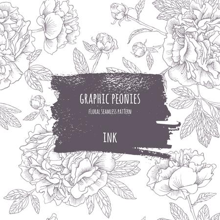patrones de flores: Dibujo a mano de peonías rosas. flores gráficos vectoriales. fondo decorativo para las tarjetas, las invitaciones. tarjeta de felicitación de la plantilla. Marco de la tinta con el patrón de contorno transparente. Pincel dibuja - asperezas, artísticas.