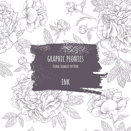Hand-drawing pink peonies. Vector graphic flowers. Decorative background for cards, invitations. Template greeting card. Ink frame with seamless contour pattern. Brush drawn - rough, artistic edges.