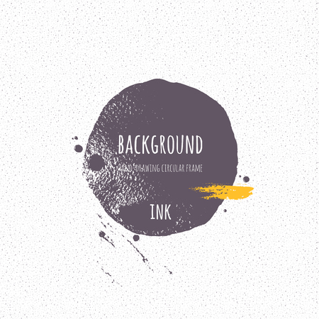 hand torn: Ink strip, blot, circle. Silhouette shape painted with  brush on a wet watercolour paper. Vector texture.  Brush ink - rough, artistic edges. Grunge background. Seamless noise.