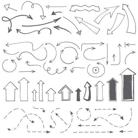 손으로 그린 화살표가 설정합니다. 벡터 일러스트 레이 션. 화살촉 - 거친 들쭉날쭉 한 가장자리의 컬렉션입니다.