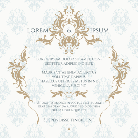 Monogram, grens en klassiek naadloos patroon. Bloemen versiering. Sjabloon voor wenskaarten, uitnodigingen, menu's, labels. Grafische ontwerp pagina. Huwelijksuitnodiging.