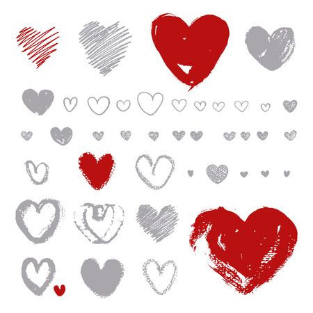 brush stroke: Hand- drawn hearts on white background. Silhouette shape painted with  brush on  watercolor paper. Brush ink - rough, artistic edges. Vector set of grunge hearts.