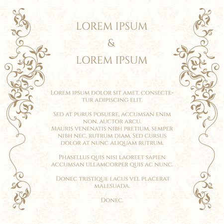 Border and classic seamless pattern. Template for greeting cards, invitations, menus, labels. Graphic design page.