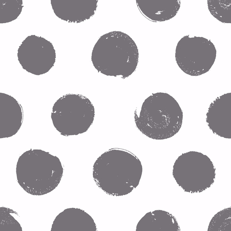 Circle: Seamless pattern. Background with painted circles. Vector texture. Brush drawn - rough, artistic edges.