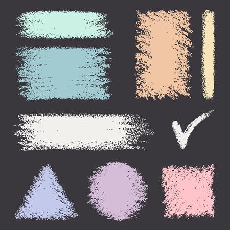 Collection of various forms.Chalk banners. Vector texture. Illusztráció