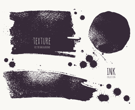 rough: Set of ink blots, droplets, stripes, circles. Silhouette shape painted with  brush on a wet watercolour paper. Vector texture.  Brush ink - rough, artistic edges. Grunge background. Illustration