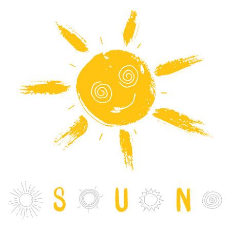 Set of hand-drawing suns.  Illusztráció