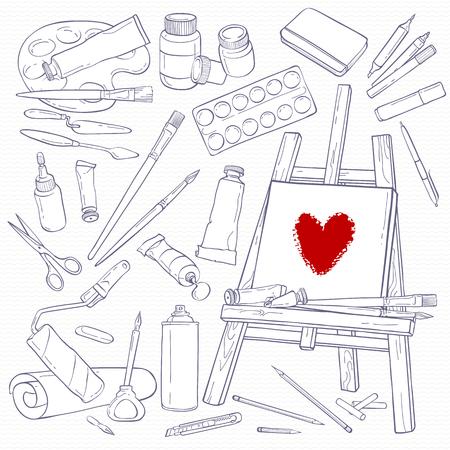 paleta de pintor: Conjunto de herramientas de la técnica. los objetos blancos y negros. Línea a mano dibujo materiales de arte.