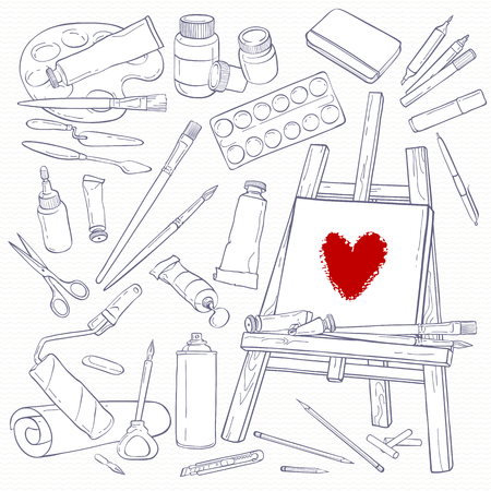 sketchpad: Set of art tools. Black and white objects. Line hand-drawing art supplies. Illustration