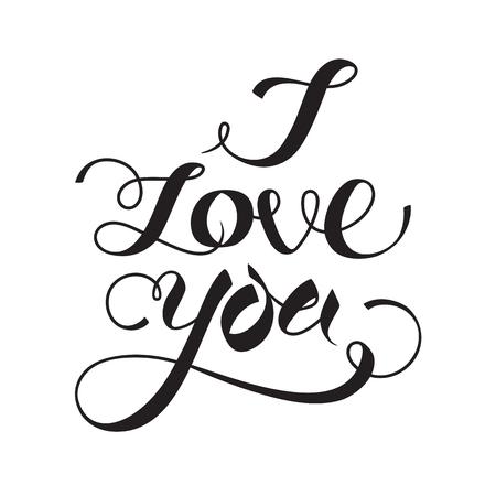 I love you hand lettering. Vector illustration.