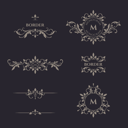 Decorative vector monogram and border. Template signage, logos, labels, stickers, cards. Graphic design page. Illusztráció
