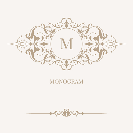 Floral monogram and border. Classic ornament. Template for cards, invitations, menus, labels. Graphic design pages, business sign, boutiques, cafes, hotels. Classic design elements for wedding invitations. Vetores