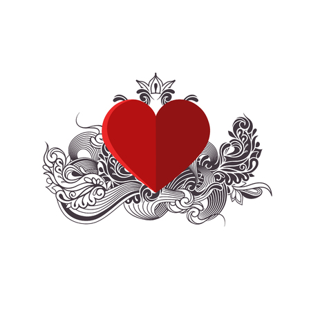 Red heart with black and white doodle pattern. Valentine card. Hand-drawing  ornament. Vector illustration.