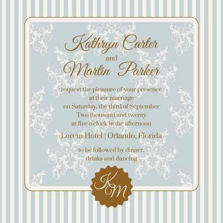 Wedding invitation. Design classic cards. Decorative floral frame. Template for greeting cards, invitations.